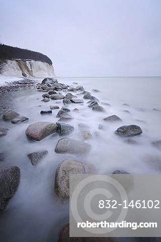 Winter on the Baltic Sea coast with cliffs, Jasmund National Park, Ruegen Island, Mecklenburg-Western Pomerania, Germany, Europe