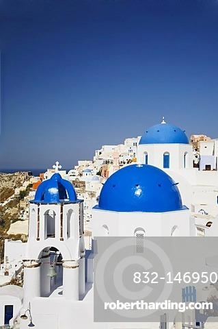 Blue church cupolas, Oia, Santorini, Cyclades, Greece, Europe