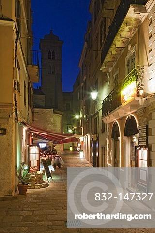 Bonifacio at night, Corsica, France, Europe