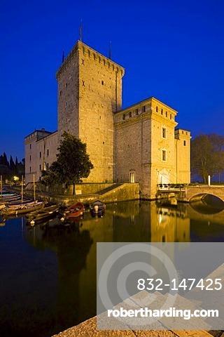 Medieval Rocca fortress with moat in Riva del Garda, Lake Garda, Trentino, Alto Adige, Italy, Europe