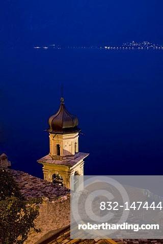 Church of Limone in the evening, Lake Garda, Lombardy, Italy, Europe