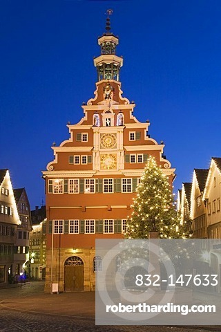 Old town hall with halft-timbered houses at Christmas time, Esslingen am Neckar, Baden-Wuerttemberg, Germany, Europe