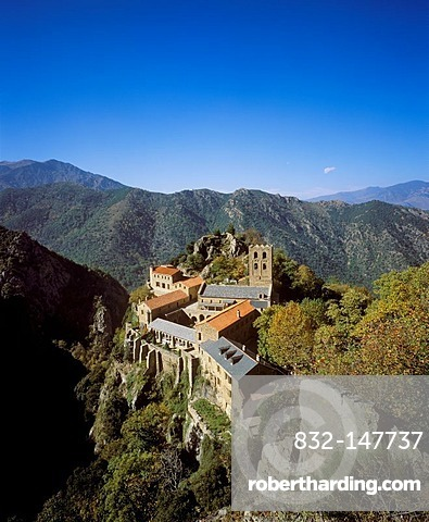 Monastery of Saint-Martin-du-Canigou, Pyrenees-Orientales, Languedoc-Roussillon, France, Europe