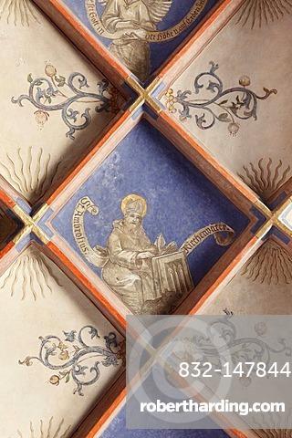 Frescoes in the vault, evangelical Parish Church of Langenzenn, Middle Franconia, Franconia, Bavaria, Germany, Europe