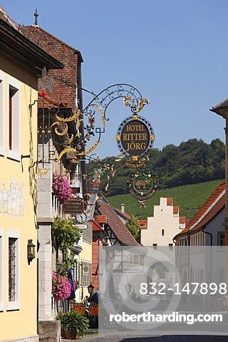 Main street and Wuerzburg Gate, Sommerhausen, Mainfranken, Lower Franconia, Franconia, Bavaria, Germany, Europe