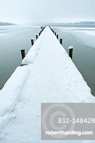 Landing stage at the Woerthsee Lake in winter, Bavaria, Germany, Europe