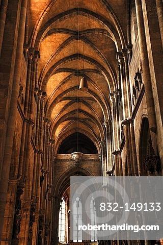 Gothic church with a vaulted ceiling, 14th century, Sebalduskirche church, Sebalder Platz, Nuremberg, Middle Franconia, Bavaria, Germany, Europe