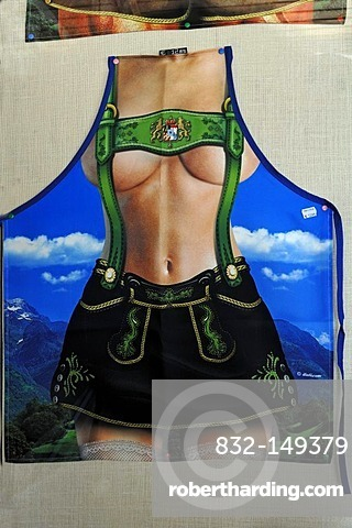 Kitchen apron with the picture of a bare-breasted woman in traditional costume, souvenir shop, Mittenwald, Upper Bavaria, Bavaria, Germany, Europe