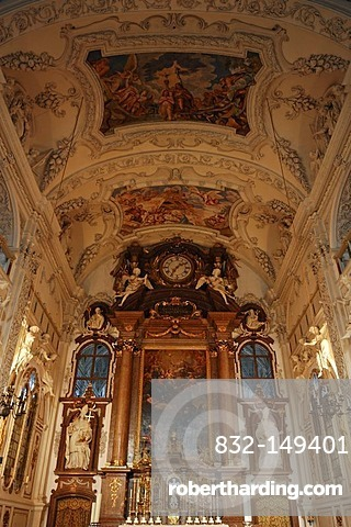 Part of the decorative ceiling vault and altar of the monastery church of St. Benedikt, 17th century, Italian early baroque, Benediktbeuren, Upper Bavaria, Bavaria, Germany, Europe