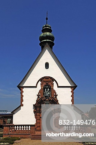 Private neo-baroque chapel built in 1903, in a cemetery, Riegel am Kaiserstuhl, Baden-Wuerttemberg, Germany, Europe