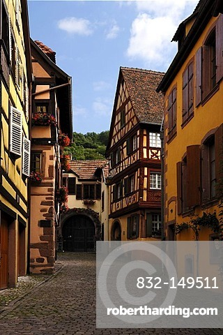 Cobblestone alleyway with old wooden houses, 19 Impasse du Pere Staub, Kaysersberg, Alsace, France, Europe