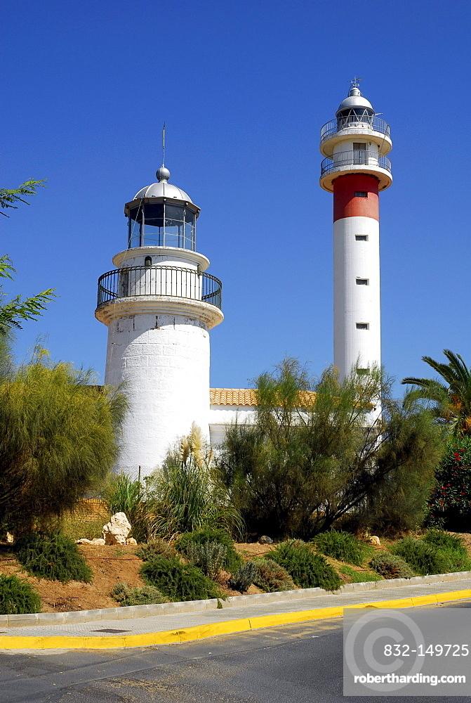 Two lighthouses in El Rompido, Cartaya, Costa de la Luz, Huelva region, Andalucia, Spain, Europe