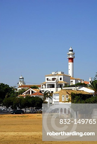 Lighthouse at the beach in El Rompido, Cartaya, Costa de la Luz, Huelva region, Andalucia, Spain, Europe