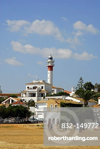 Lighthouse at the beach in El Rompido, Cartaya, Costa de la Luz, Huelva region, Andalucia, Spain, Europe