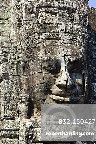 Stone face of Bodhisattva Lokeshvara, Bayon Temple, Angkor temples, Siem Reap, Cambodia, Indochina, Southeast Asia