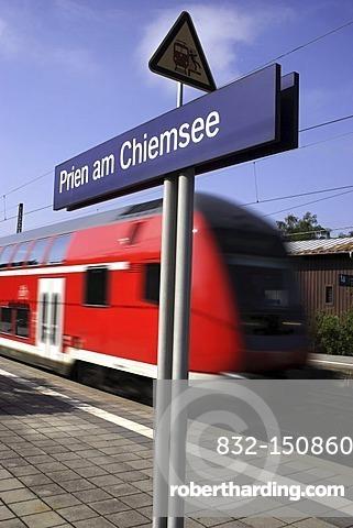 Train at the Prien am Chiemsee railway station, Prien, Chiemgau, Bavaria, Germany, Europe