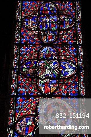 Stained glass windows, Saint Gatien's Cathedral, Tours, Departement Inde-et-Loire, Region Centre, France, Europe
