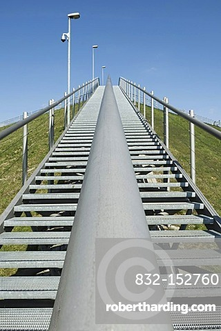 Stairway up to the lookout on the hill, Munich Franz Josef Strauss Airport, Munich, Bavaria, Germany, Europe