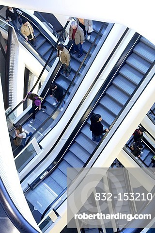 Escalators at MyZeil shopping mall, Frankfurt am Main, Hesse, Germany, Europe