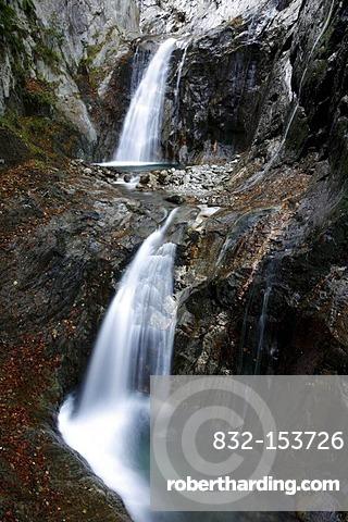 Waterfalls in a steep gorge, Gorges du Durnand, Great St Bernard Pass, Valais, Switzerland, Europe