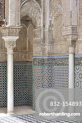 Walls with columns, arabesques and mosaics, Medersa Attarine Koran School, Fez, Morocco, Africa