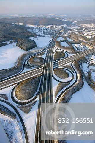 Aerial photo, highway intersection Olpe A4, A45, Sauerlandlinie, snow, winter, Wenden, North Rhine-Westphalia, Germany, Europe