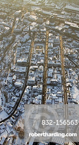 Aerial photo, town centre in the snow in winter, Olpe, North Rhine-Westphalia, Germany, Europe