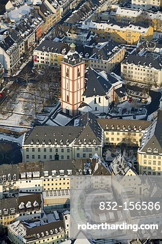 Aerial photo, Siegen in the snow in winter, Sauerland, North Rhine-Westphalia, Germany, Europe