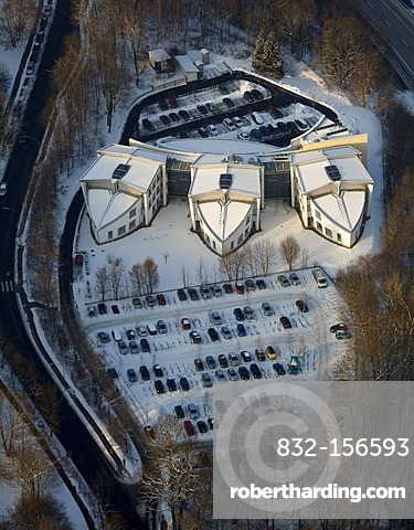 Aerial view, office buildings, commercial property, Am Eichenhain, snow, winter, Siegen, Sauerland area, North Rhine-Westphalia, Germany, Europe