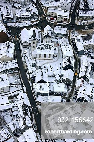 Aerial view, snow, Altenvoerde, Ennepetal, North Rhine-Westphalia, Germany, Europe