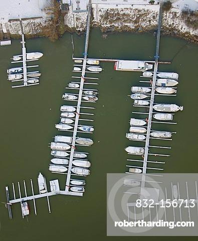 Aerial view, Rhine harbor Wesel, boats, snow, Wesel, North Rhine-Westphalia, Germany, Europe