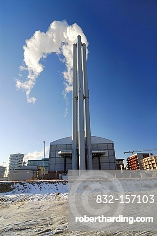 Cogeneration plant in the Hafencity of Hamburg, Germany, Europe