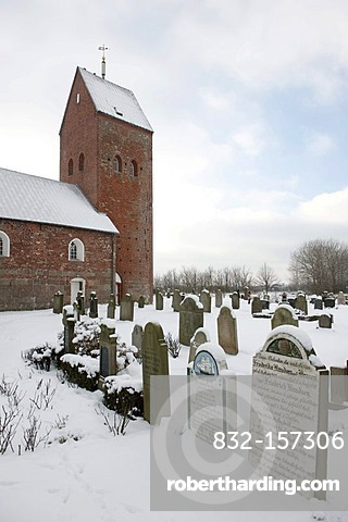 St. Laurentii church and so-called talking tombstones that tell the life story of the deceased, Suederende on the North Sea island of Fohr, North Frisian Islands, Schleswig Holstein, northern Germany, Europe
