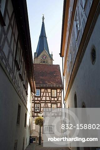 Moeckmuehl village, Jagst Valley, Baden-Wuerttemberg, Germany, Europe