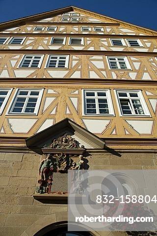 Half-timbered town hall, Moeckmuehl village, Jagst Valley, Baden-Wuerttemberg, Germany, Europe