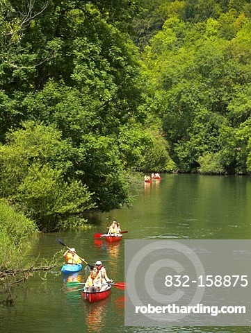 Danube river, paddle boats, Obere Donau Nature Park, Baden-Wuerttemberg, Germany, Europe