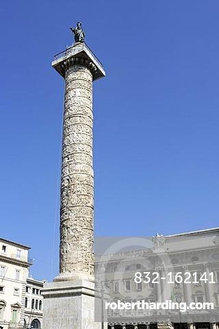 Column of Marcus Aurelius, Piazza Colonna square, Rome, Lazio, Italy, Europe