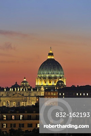 View from the Pincio to St. Peter's Basilica at dusk, Rome, Italy, Europe