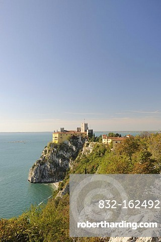 Duino Castle with cliffs of Sistiana from the Rilke Path, Italy, Europe