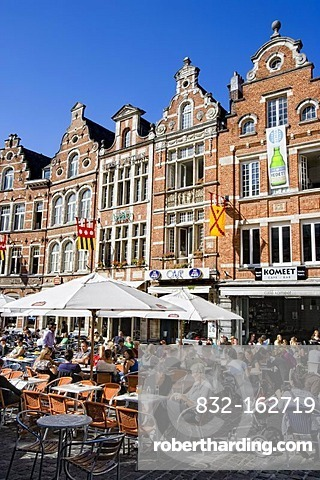 Sidewalk cafes at Oude Markt square in Leuven, Belgium, Europe