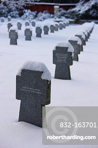 Graves of unknown soldiers, cemetery, wintery, Marianske Lazne, Czech Republic, Europe