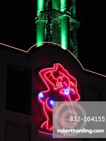 Female nude, neon sign, brothel in Duisburg, North Rhine-Westphalia, Germany, Europe
