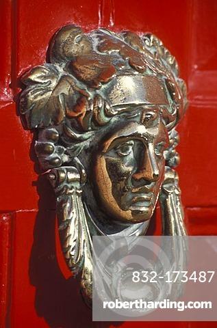 Door knocker on red door, Dublin Doors, typical Georgian houses, Merrion Square, Dublin, Ireland, Europe