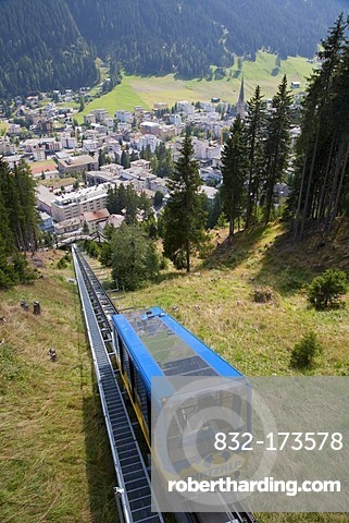 Bergbahn Schatzalp cable car, funicular, Schatzalp, townscape, Davos, Grisons, Switzerland, Europe
