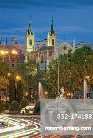 Los Jeronimos church, and Fountain of Neptune, Glorieta de Canovas del Castillo or Glorieta de Neptuno, Madrid, Spain, Europe