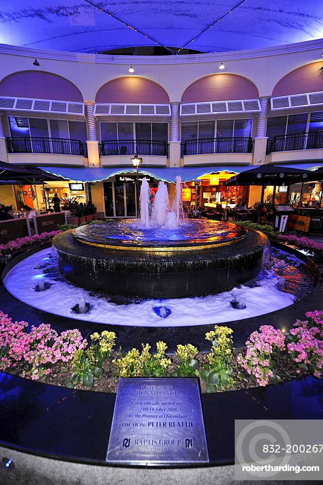 Chevron Renaissance Shopping Arcade, night shot, Surfers Paradise, Gold Coast, New South Wales, Australia