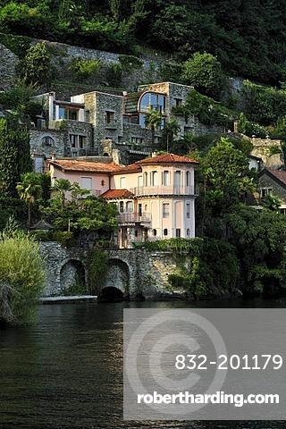 Lakeside mansions at Lake Maggiore, Cannero Riviera, Piedmont, Italy, Europe