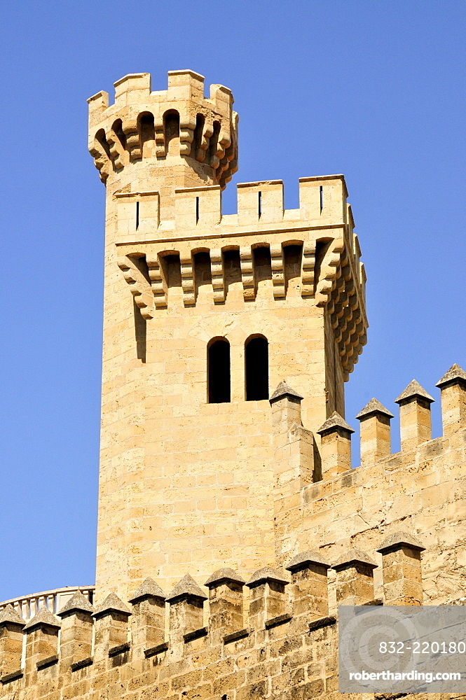 Tower of the Llotja dels Mercader, one of the masterpieces of bourgeois, Gothic architecture, Palma de Majorca, Majorca, Balearic Islands, Spain, Europe