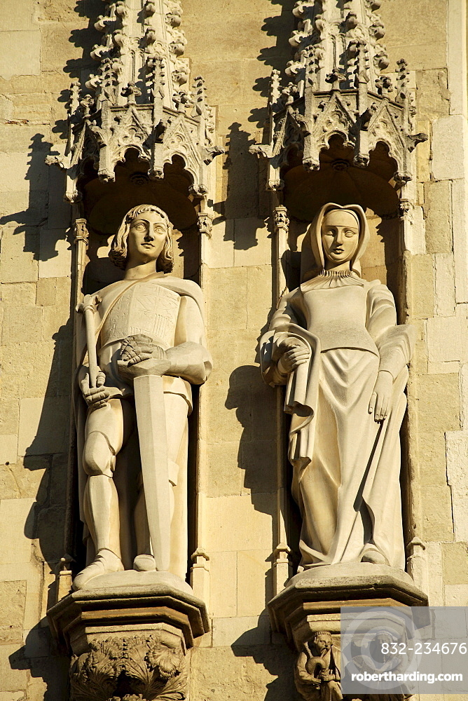 Medieval statues on the facade of the town hall of Bruges, Belgium, Europe