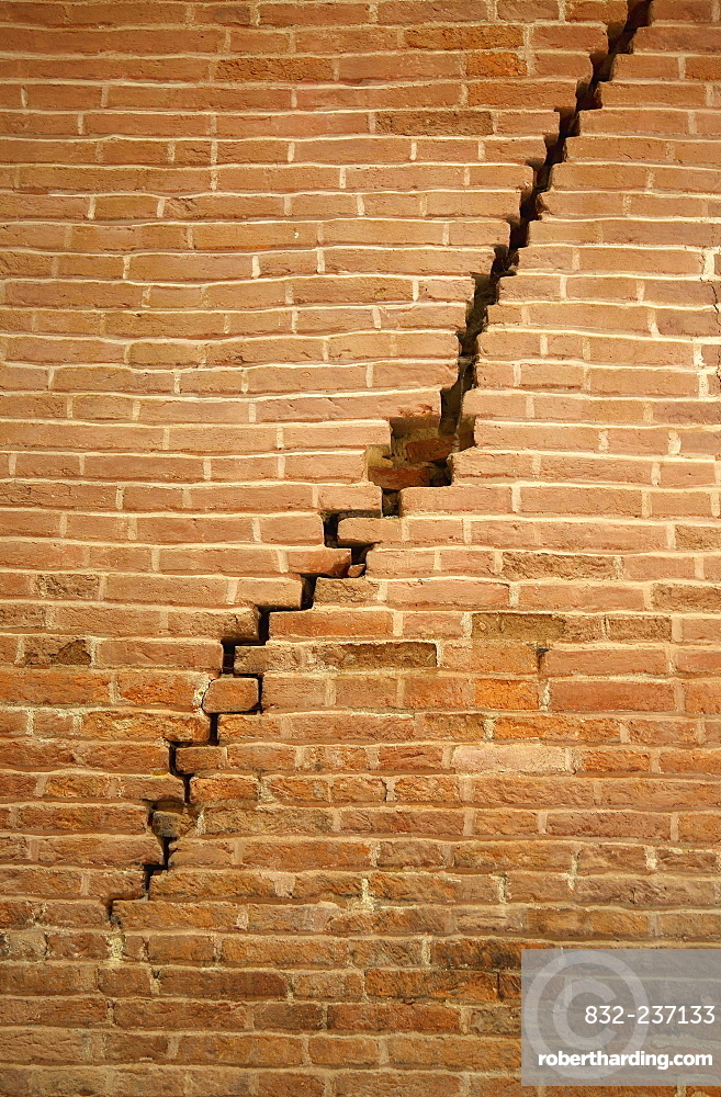 Crack in brick wall caused by earthquake